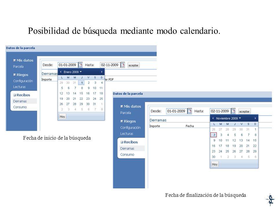 Posibilidad de búsqueda mediante modo calendario.
