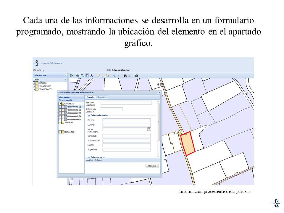 Cada una de las informaciones se desarrolla en un formulario programado, mostrando la ubicación del elemento en el apartado gráfico.