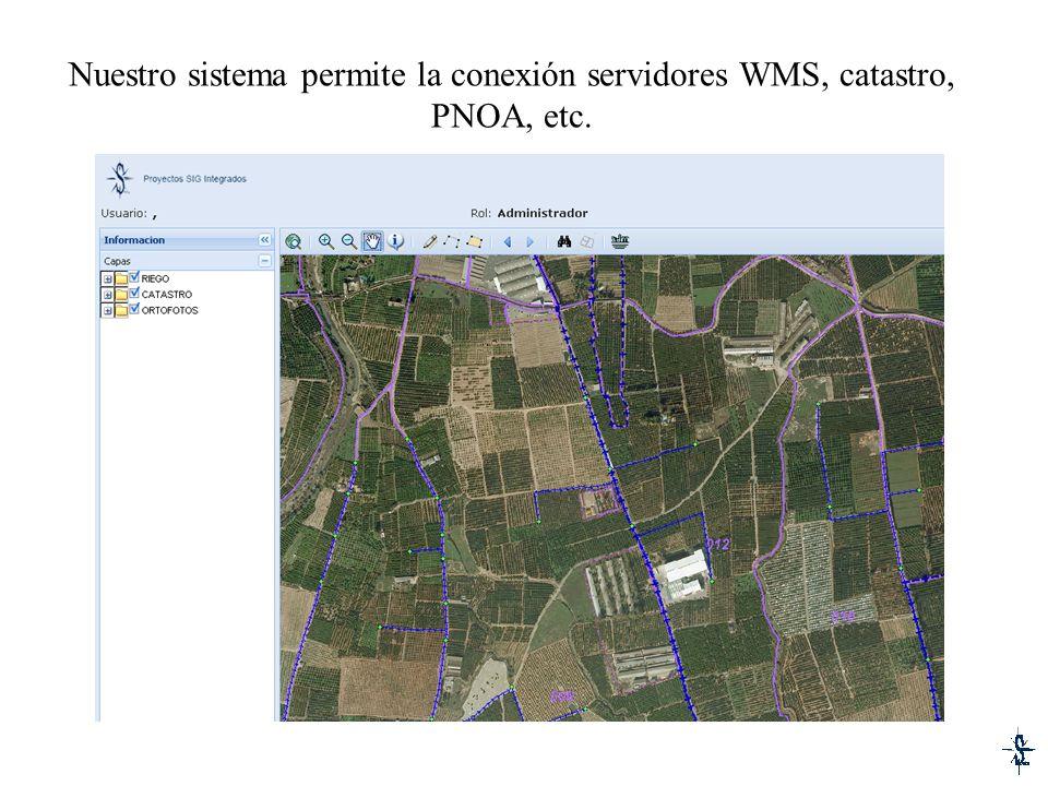 Nuestro sistema permite la conexión servidores WMS, catastro, PNOA, etc.