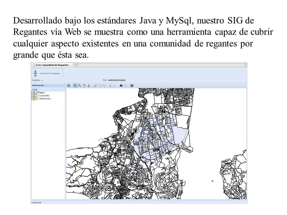 Desarrollado bajo los estándares Java y MySql, nuestro SIG de Regantes vía Web se muestra como una herramienta capaz de cubrir cualquier aspecto existentes en una comunidad de regantes por grande que ésta sea.