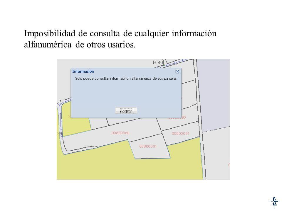 Imposibilidad de consulta de cualquier información alfanumérica de otros usarios.