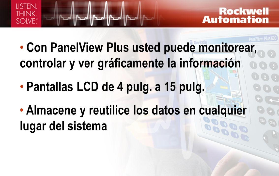 Con PanelView Plus usted puede monitorear, controlar y ver gráficamente la información