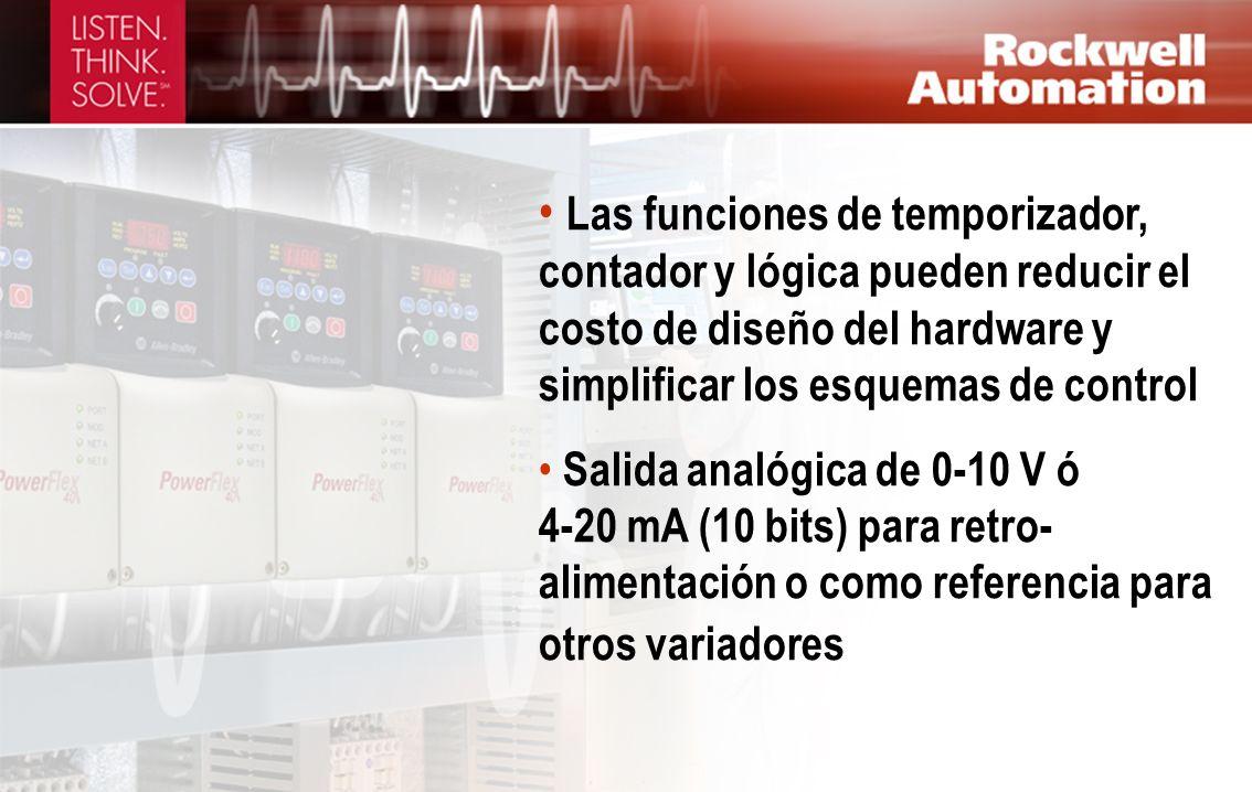 Las funciones de temporizador, contador y lógica pueden reducir el costo de diseño del hardware y simplificar los esquemas de control
