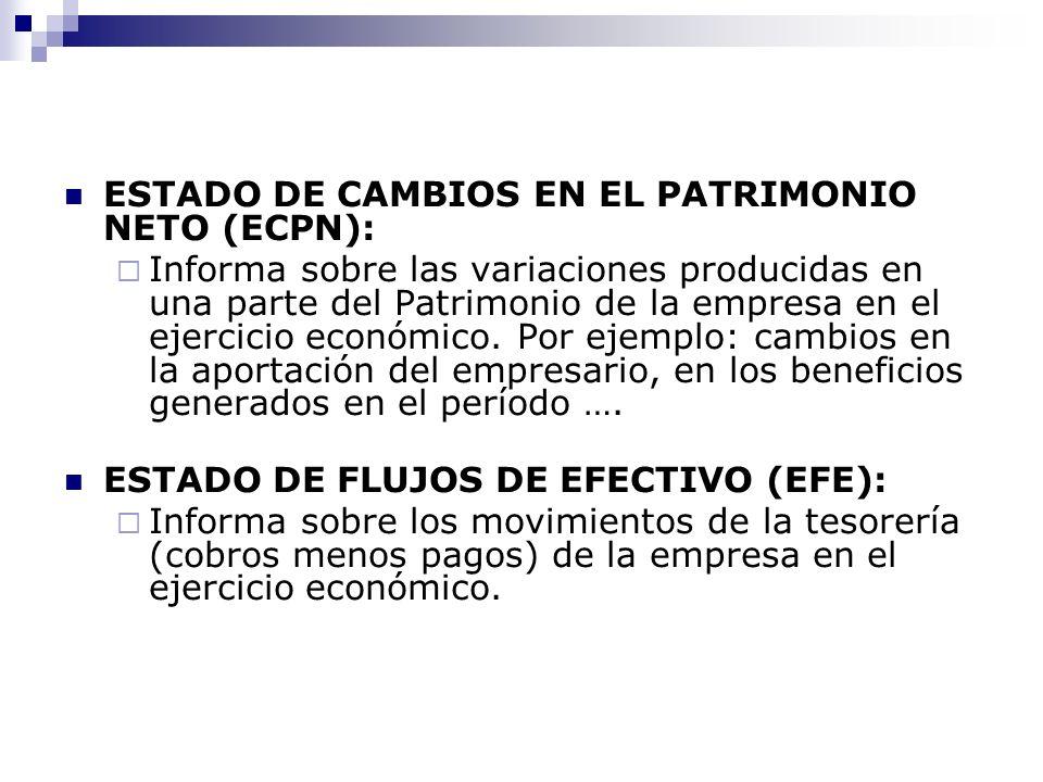 ESTADO DE CAMBIOS EN EL PATRIMONIO NETO (ECPN):