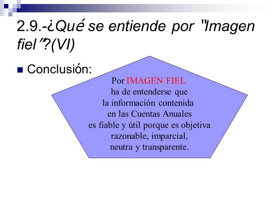 2.9.-¿Qué se entiende por Imagen fiel (VI)