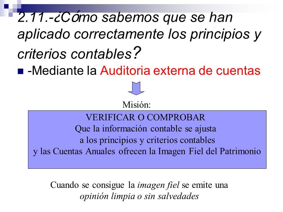 2.11.-¿Cómo sabemos que se han aplicado correctamente los principios y criterios contables