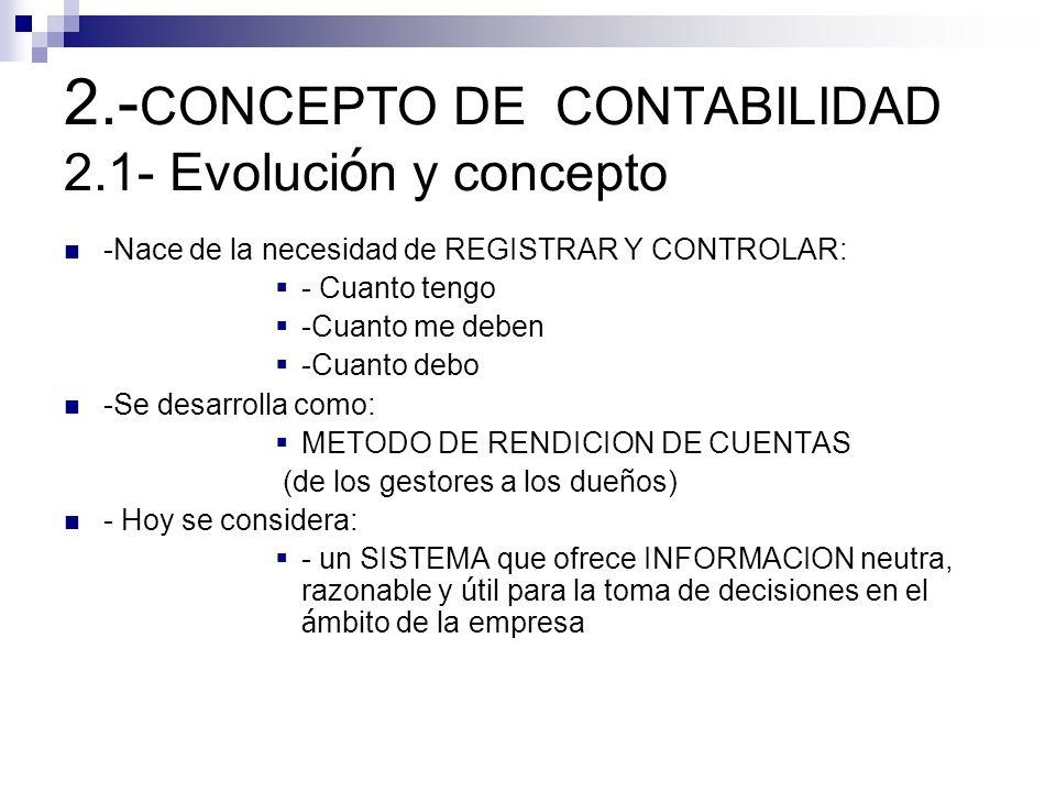2.-CONCEPTO DE CONTABILIDAD 2.1- Evolución y concepto