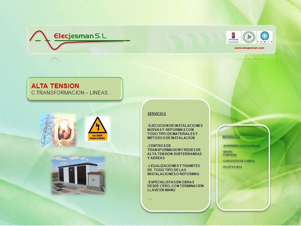 ALTA TENSION C.TRANSFORMACION – LINEAS ... SERVICIOS