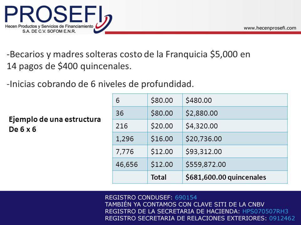 -Becarios y madres solteras costo de la Franquicia $5,000 en
