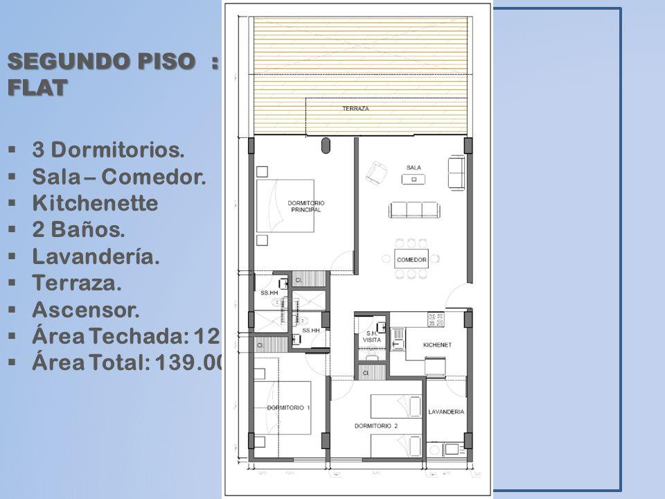 SEGUNDO PISO : FLAT 3 Dormitorios. Sala – Comedor. Kitchenette. 2 Baños. Lavandería. Terraza.