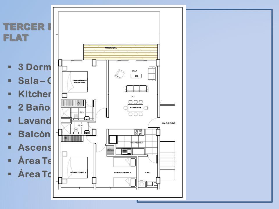 TERCER PISO: FLAT 3 Dormitorios. Sala – Comedor. Kitchenette. 2 Baños. Lavandería. Balcón. Ascensor.