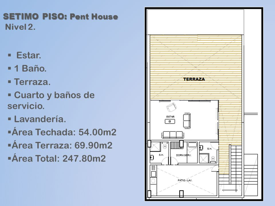 SETIMO PISO: Pent House Nivel 2.