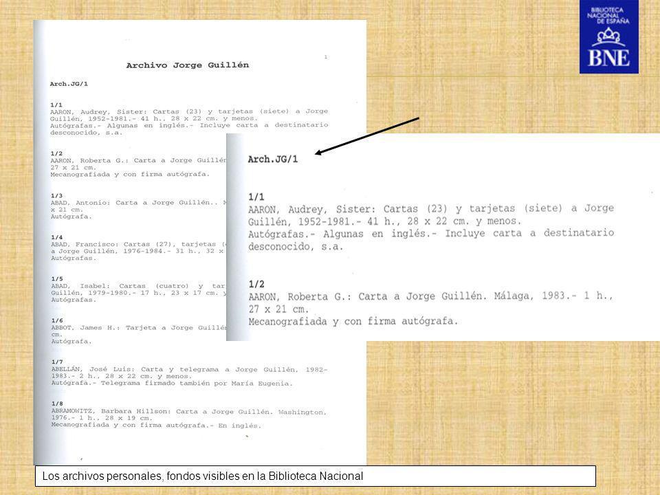 Los archivos personales, fondos visibles en la Biblioteca Nacional