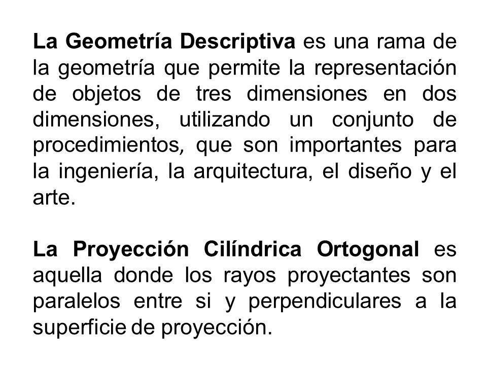 La Geometría Descriptiva es una rama de la geometría que permite la representación de objetos de tres dimensiones en dos dimensiones, utilizando un conjunto de procedimientos, que son importantes para la ingeniería, la arquitectura, el diseño y el arte.