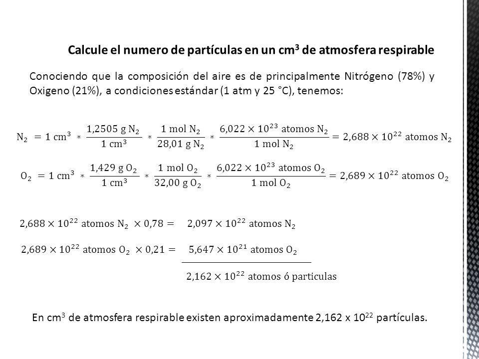 Calcule el numero de partículas en un cm3 de atmosfera respirable