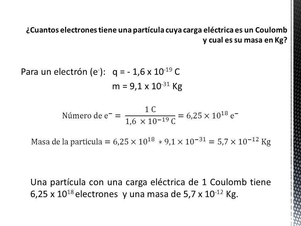 Para un electrón (e-): q = - 1,6 x 10-19 C m = 9,1 x 10-31 Kg