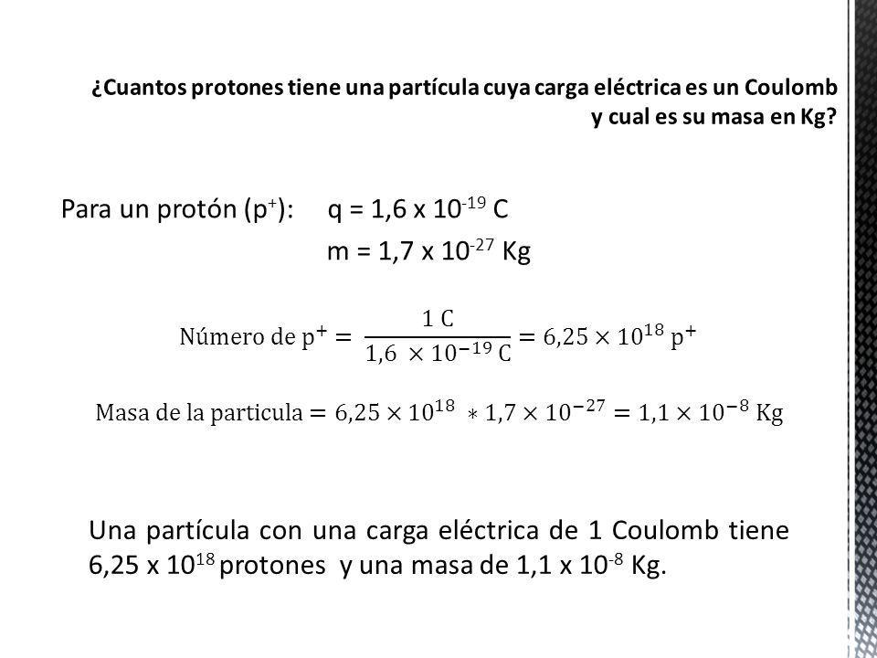 Para un protón (p+): q = 1,6 x 10-19 C m = 1,7 x 10-27 Kg