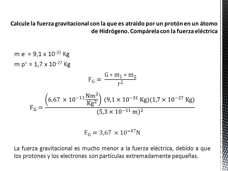 Calcule la fuerza gravitacional con la que es atraído por un protón en un átomo de Hidrógeno. Compárela con la fuerza eléctrica