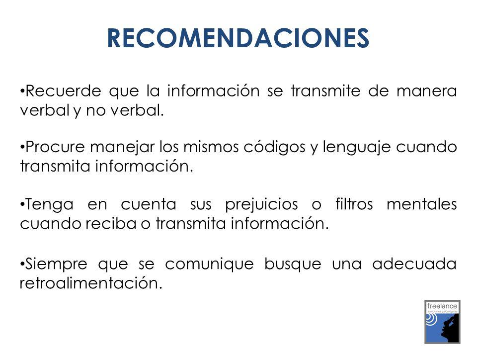 RECOMENDACIONES Recuerde que la información se transmite de manera verbal y no verbal.
