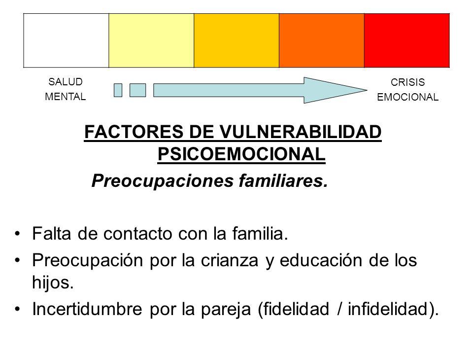 FACTORES DE VULNERABILIDAD PSICOEMOCIONAL Preocupaciones familiares.