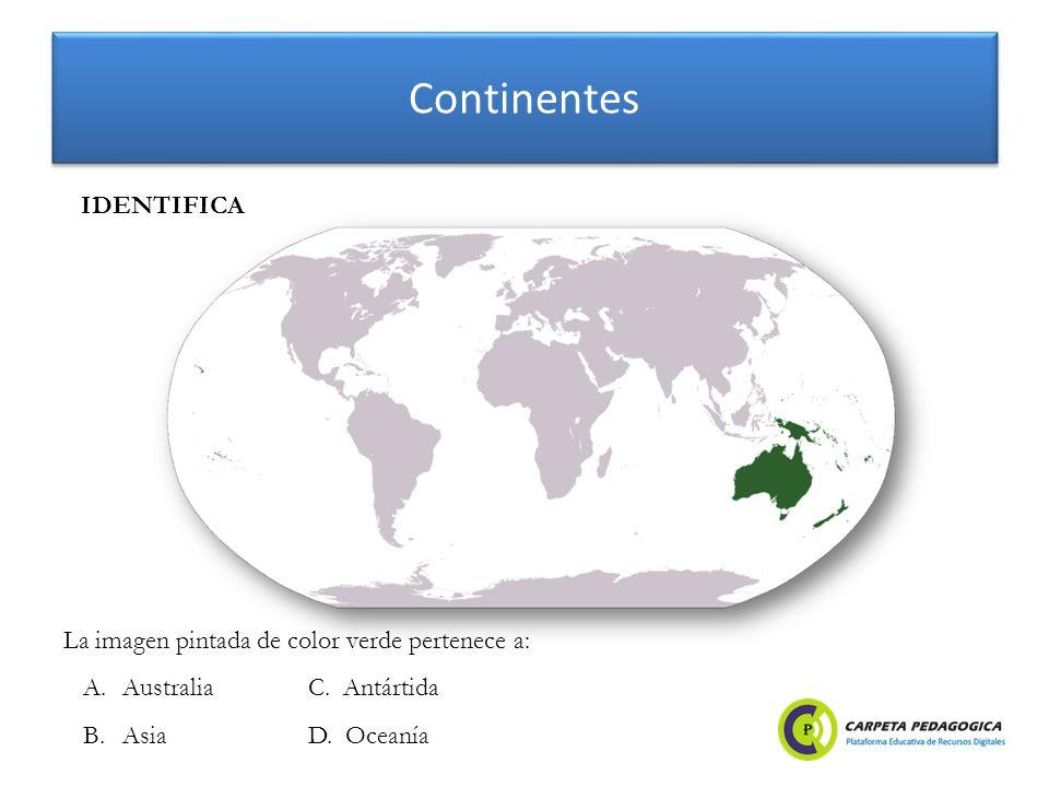 Continentes IDENTIFICA La imagen pintada de color verde pertenece a: