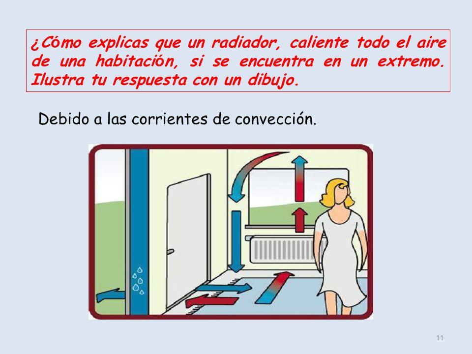 ¿Cómo explicas que un radiador, caliente todo el aire de una habitación, si se encuentra en un extremo. Ilustra tu respuesta con un dibujo.
