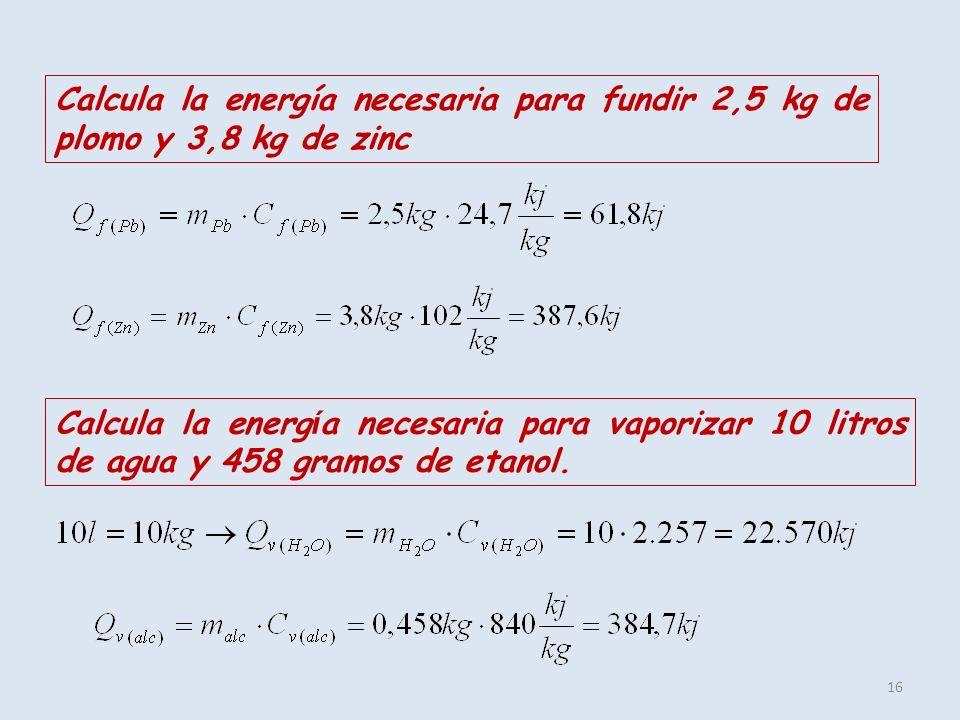 Calcula la energía necesaria para fundir 2,5 kg de plomo y 3,8 kg de zinc
