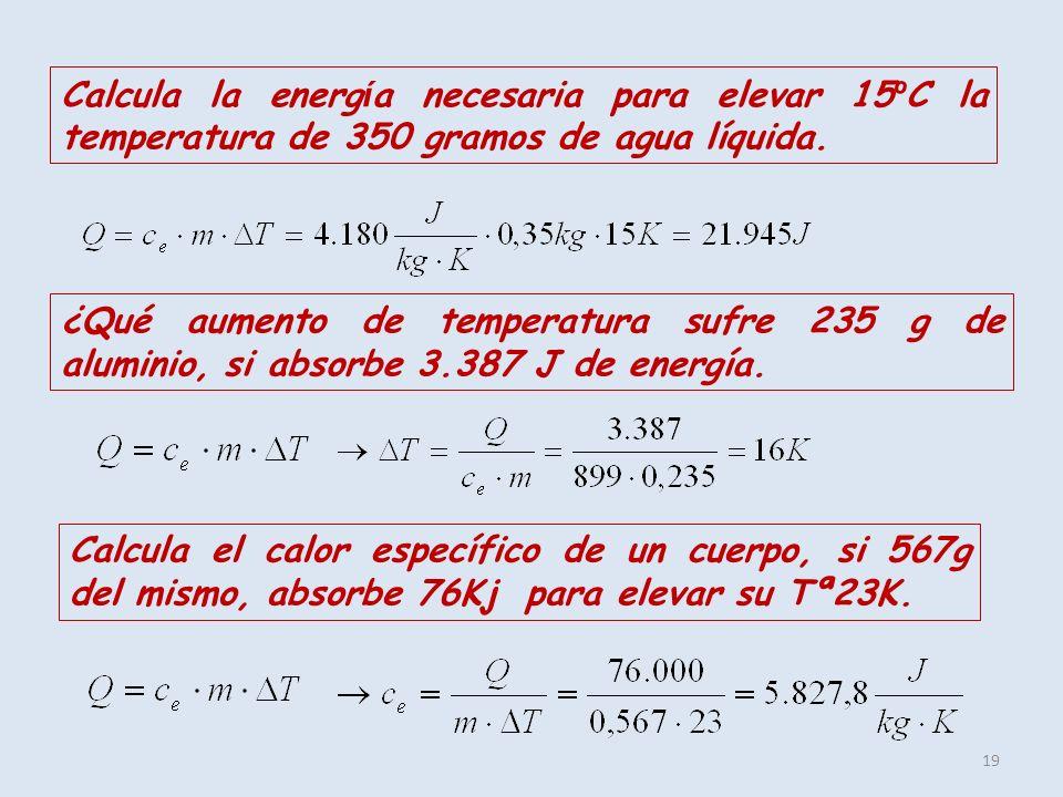 Calcula la energía necesaria para elevar 15ºC la temperatura de 350 gramos de agua líquida.