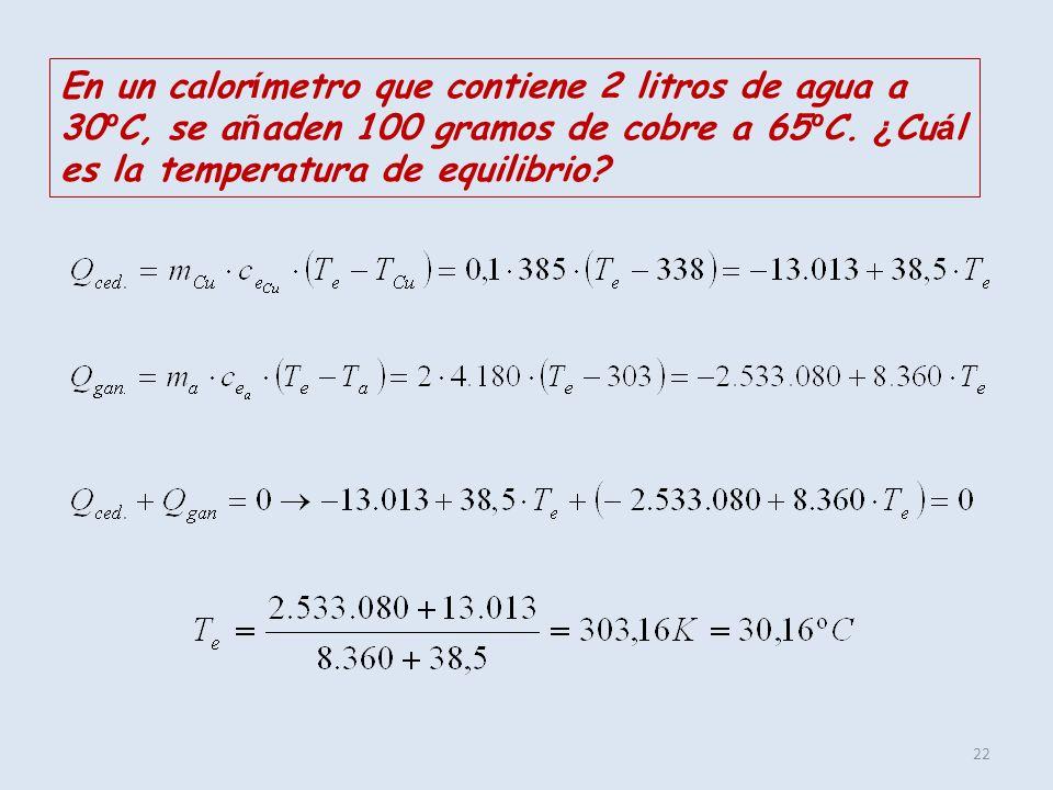 En un calorímetro que contiene 2 litros de agua a 30ºC, se añaden 100 gramos de cobre a 65ºC.