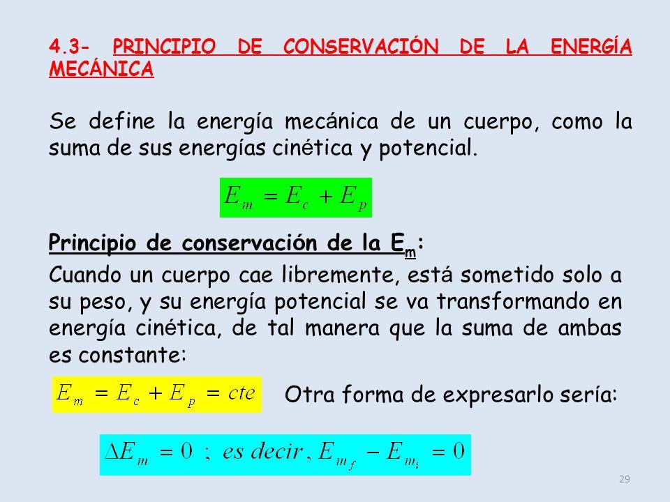 Principio de conservación de la Em: