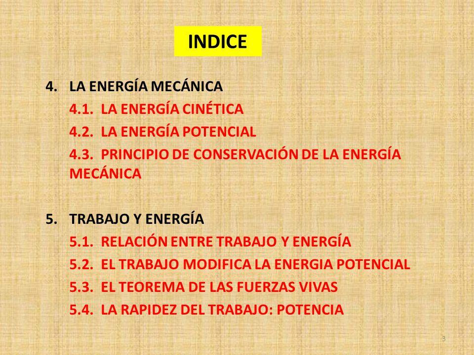 INDICE LA ENERGÍA MECÁNICA 4.1. LA ENERGÍA CINÉTICA