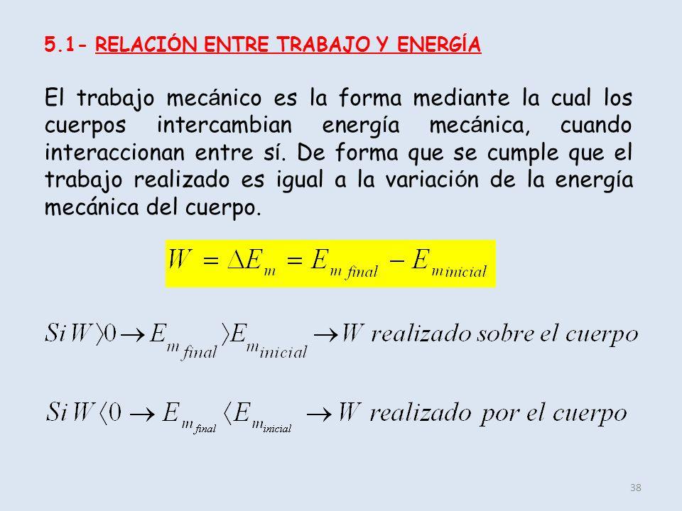 5.1- RELACIÓN ENTRE TRABAJO Y ENERGÍA