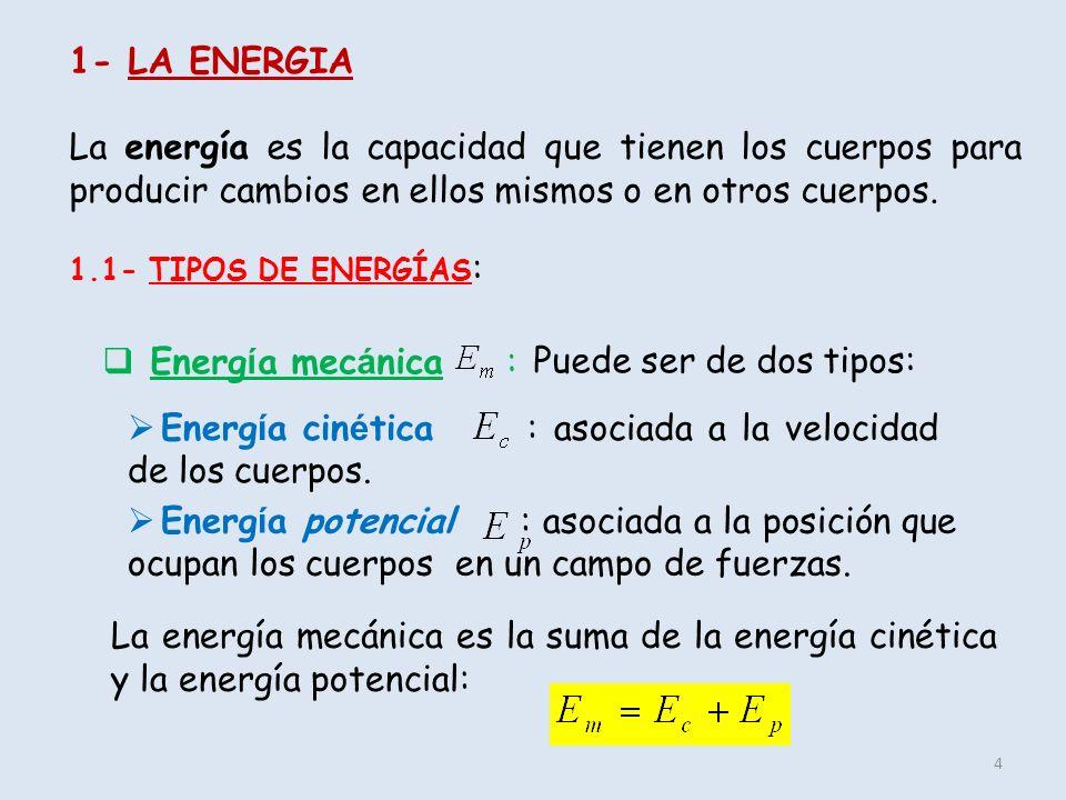 Energía cinética : asociada a la velocidad de los cuerpos.