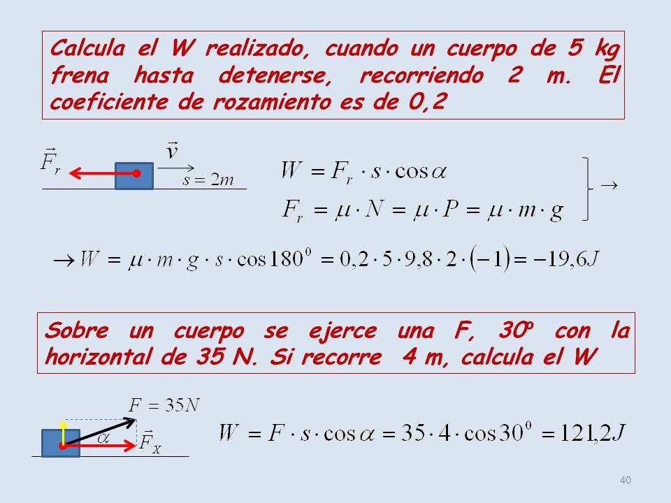 Calcula el W realizado, cuando un cuerpo de 5 kg frena hasta detenerse, recorriendo 2 m. El coeficiente de rozamiento es de 0,2