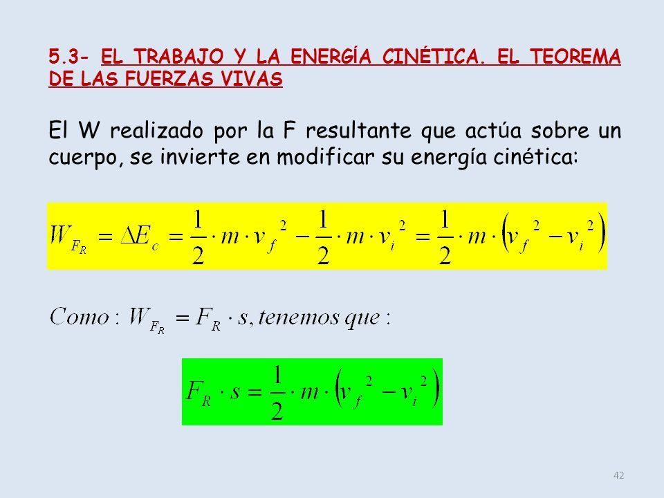 5.3- EL TRABAJO Y LA ENERGÍA CINÉTICA. EL TEOREMA DE LAS FUERZAS VIVAS