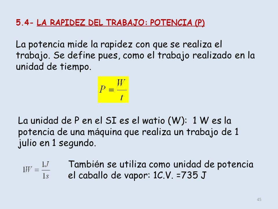 5.4- LA RAPIDEZ DEL TRABAJO: POTENCIA (P)