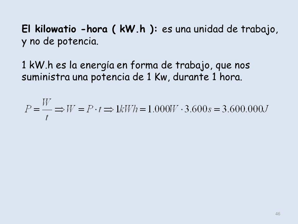 El kilowatio -hora ( kW.h ): es una unidad de trabajo, y no de potencia.