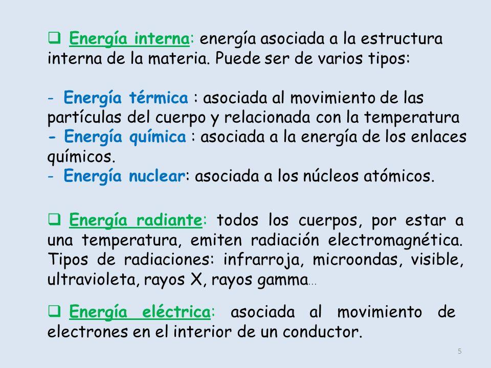 Energía interna: energía asociada a la estructura interna de la materia. Puede ser de varios tipos: - Energía térmica : asociada al movimiento de las partículas del cuerpo y relacionada con la temperatura - Energía química : asociada a la energía de los enlaces químicos. - Energía nuclear: asociada a los núcleos atómicos.