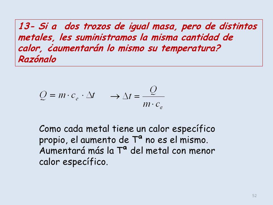 13- Si a dos trozos de igual masa, pero de distintos metales, les suministramos la misma cantidad de calor, ¿aumentarán lo mismo su temperatura Razónalo