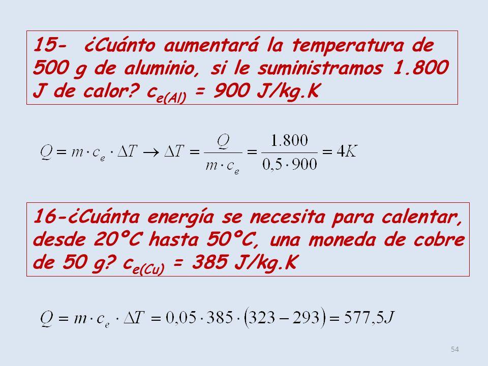 15- ¿Cuánto aumentará la temperatura de 500 g de aluminio, si le suministramos 1.800 J de calor ce(Al) = 900 J/kg.K