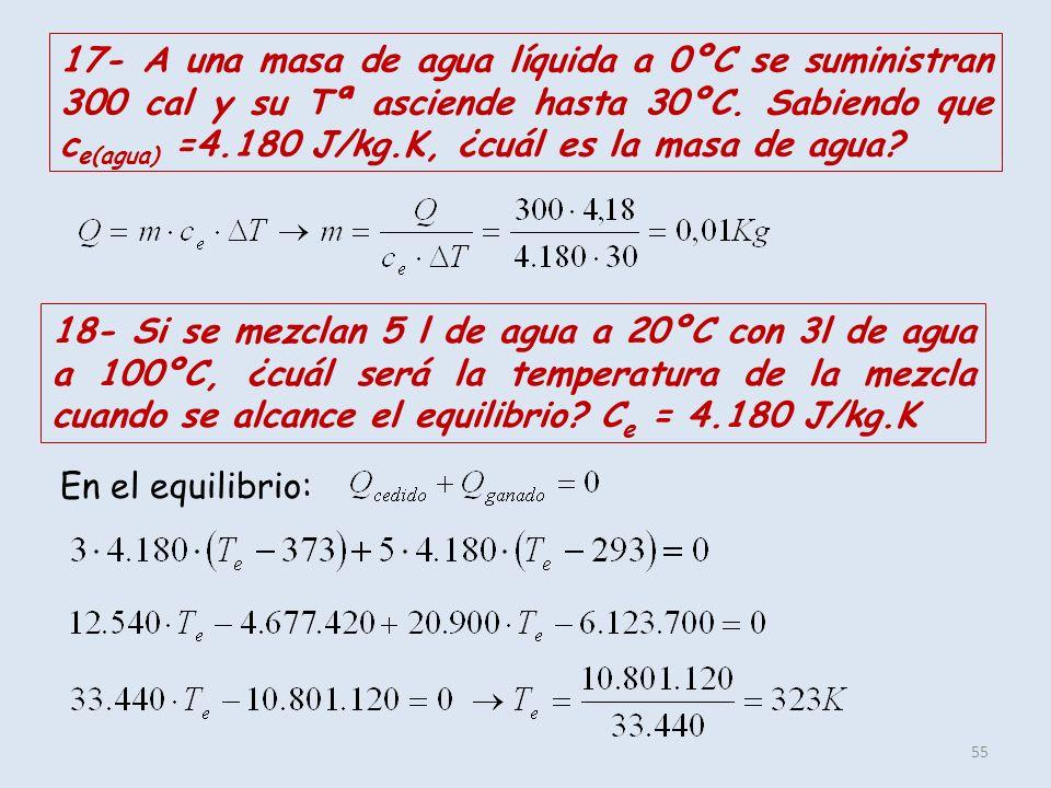 17- A una masa de agua líquida a 0ºC se suministran 300 cal y su Tª asciende hasta 30ºC. Sabiendo que ce(agua) =4.180 J/kg.K, ¿cuál es la masa de agua