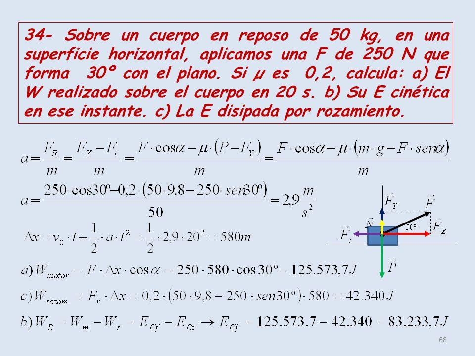 34- Sobre un cuerpo en reposo de 50 kg, en una superficie horizontal, aplicamos una F de 250 N que forma 30º con el plano.