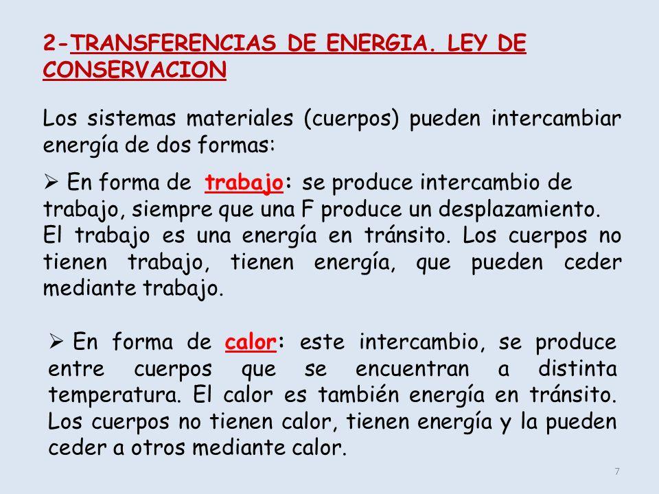 2-TRANSFERENCIAS DE ENERGIA. LEY DE CONSERVACION