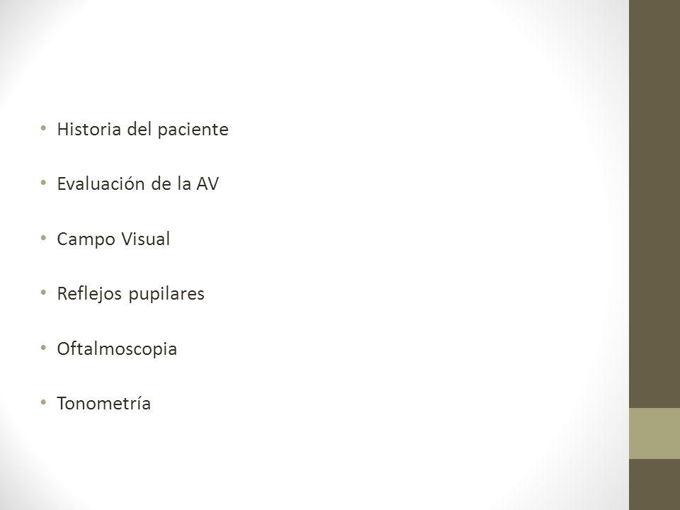 Historia del paciente Evaluación de la AV Campo Visual Reflejos pupilares Oftalmoscopia Tonometría