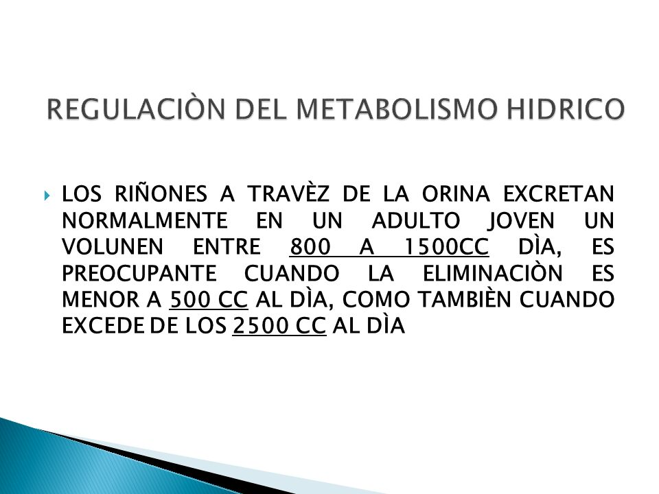 REGULACIÒN DEL METABOLISMO HIDRICO