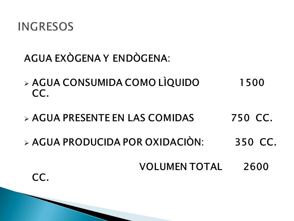 INGRESOS AGUA EXÒGENA Y ENDÒGENA: AGUA CONSUMIDA COMO LÌQUIDO 1500 CC.