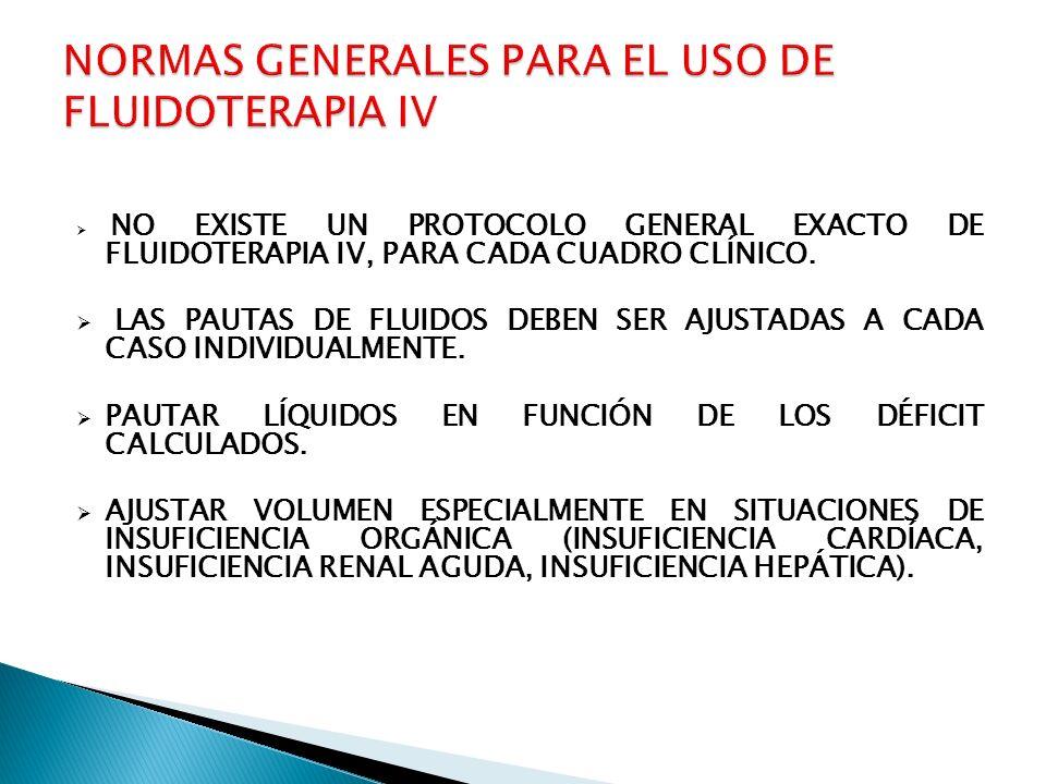 NORMAS GENERALES PARA EL USO DE FLUIDOTERAPIA IV