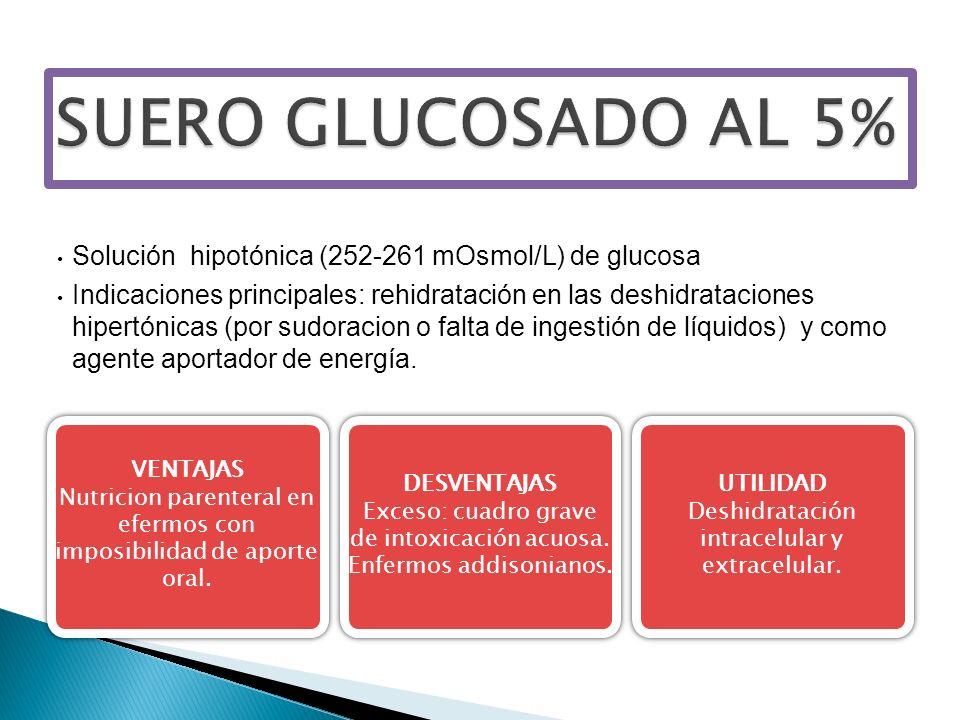 SUERO GLUCOSADO AL 5% Solución hipotónica (252-261 mOsmol/L) de glucosa.