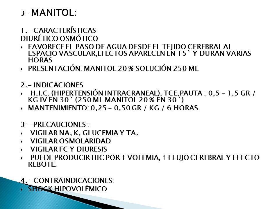 3- MANITOL: 1.- CARACTERÍSTICAS. DIURÉTICO OSMÓTICO.