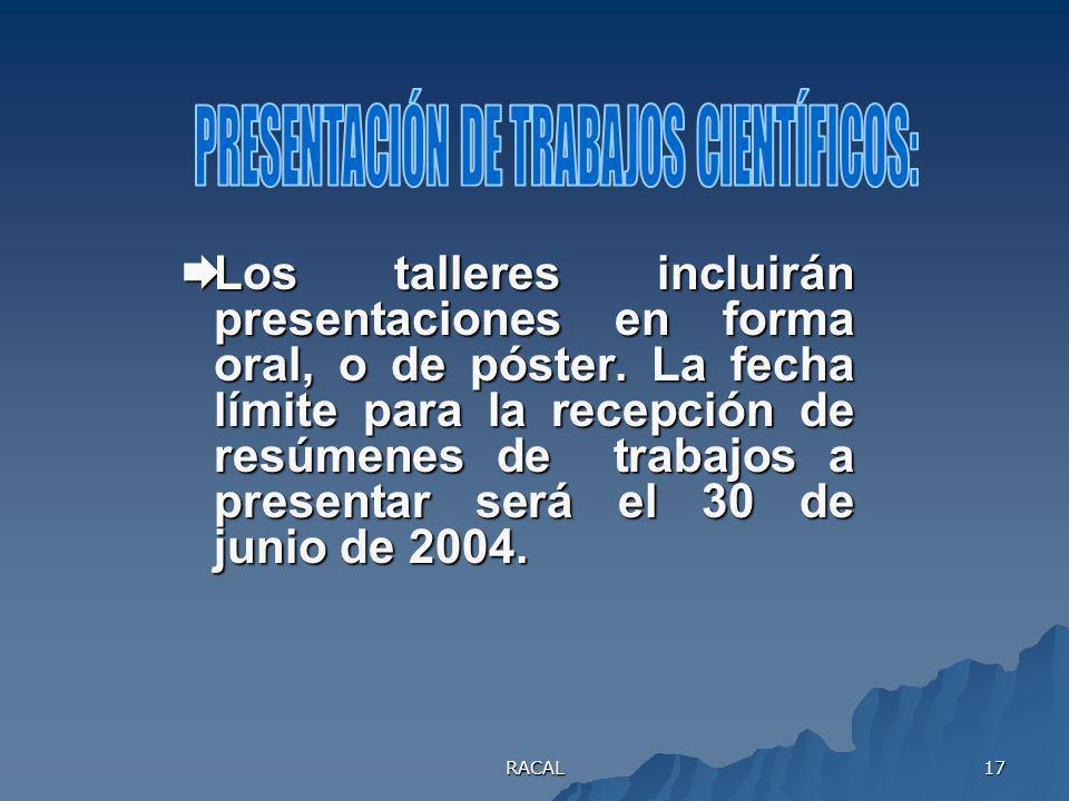 PRESENTACIÓN DE TRABAJOS CIENTÍFICOS: